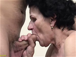 72 years senior hairy grandmother tough drilled