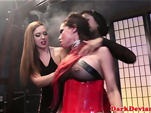 female dom three lezzies raunchy strap-on fuck session