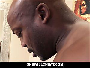 SheWillCheat - cheating wifey smashes big black cock in bathroom