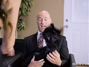 Office buxom honey Ariella Ferrera takes humungous penis
