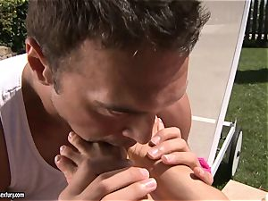 splendid japanese Asa Akira luvs getting her cool feet adored by her bf
