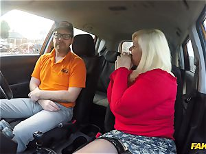 My 50 yr aged mother Lacey Starr gets her phat twat boned in the car
