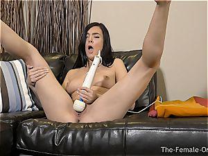 Coeds magic wand masturbation to numerous orgasms