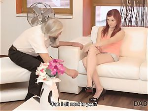 DADDY4K. filthy man thumbs gf for hotwife on him with naughty parent