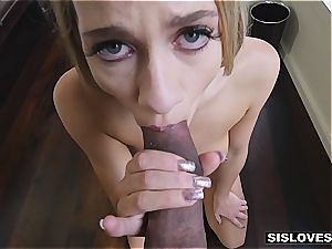 dude gets his splendid nubile stepsister to gargle and shag his yam-sized cock