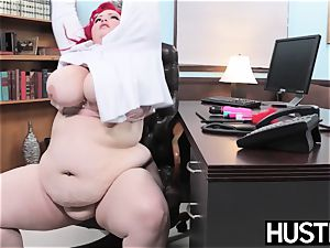 redhead bbw Eliza Allure jizm wiped after office fuckfest