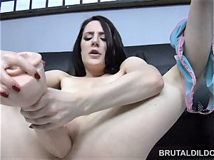 Samantha Bentley drinks thick dildos with her red-hot vagina