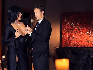 ebony haired Alison Tyler smashes her suited paramour