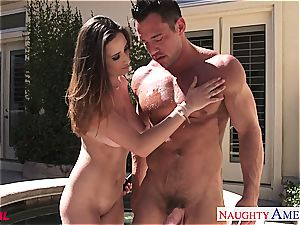 watch as Ashley Adams gets a load on her boobies