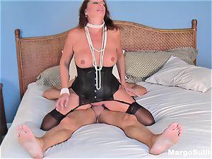 Mature Margo rails manmeat in a nub necklace