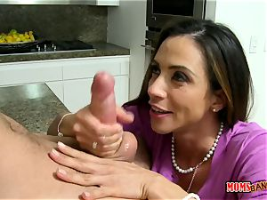 chesty mummy Ariella Ferrera entices her son in law in the kitchen while her daughter-in-law sleeps