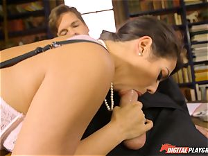 Headmistress Eva Lovia plays with her nasty schoolgirl