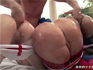 assfuck bang-out with trio super-naughty enormous rump sluts Krissy Lynn, Nikki Delano and Rose Monroe