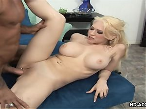 Smoking steamy ash-blonde with meaty fun bags gets romped rock-hard