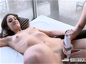 sizzling Angel Wicky uses 2 vibrators on Miky love in Public