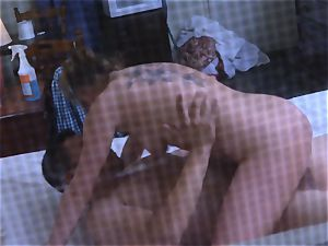 Brianna brown caught on spy cam as she plows