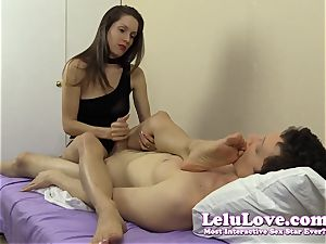 She milks his trouser snake while fondling her soles and soles