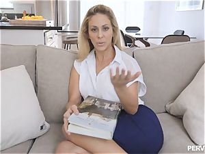 mummy Cherie Deville almost caught by husband romping stepson