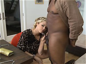 Frustrated wife Katie Kox gets boned on a table in front of her man