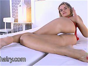 Regina looks great in crimson underwear