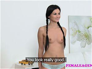 FemaleAgent bombshell with ponytails gets agent wet