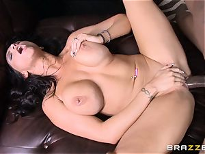 Romi Rain pulverizes her super-fucking-hot ebony trainer in front of her boy
