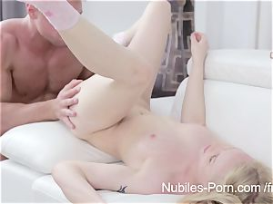 Nubiles pornography - spunk cascading down towheaded bombshells face