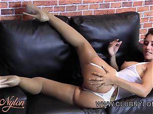 super-hot brown-haired vag taunt in white underwear sunburn nylons