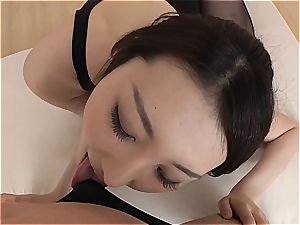 diminutive chinese cutie gets her minge plumbed through her stockings