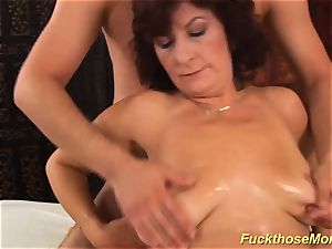 facial on big-chested hairy mom