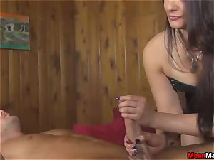 client perplexed To see The fabulous dark haired massagist