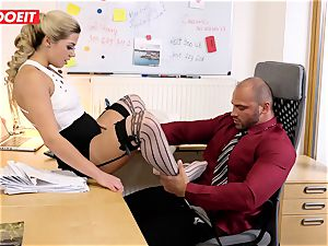 Stepdaughter joins dad in drilling the office secretary