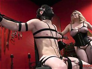 big-boobed ash-blonde domina Gives Her slave a wank
