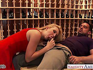 Samantha banging in the wine cellar
