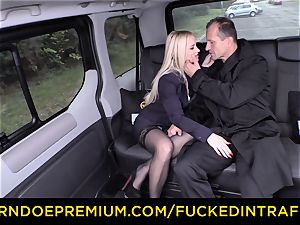pulverized IN TRAFFIC - gorgeous blondie ravaged in backseat