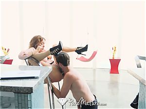 PUREMATURE red Headed milf tries ass fucking
