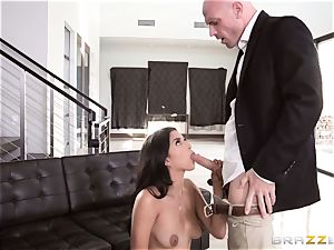 Sophia Leone prone banged nuts deep by hung Johnny Sins
