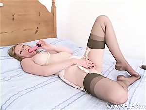light-haired milf slips of panties high-heeled shoes drills fucktoy in nylons
