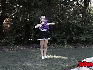 teenage nymph Zoey is a dark-hued lollipop gobbling cheerleader