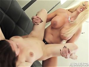 Alura Jenson cooch filled with belt cock heavy muscled dame Brandi May