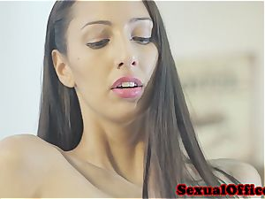 super hot assistant from Europe satisfies her boss' swelling
