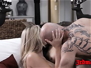 Pretty asian nanny fucked in 3some with Mr and Mrs