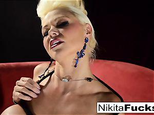 Russian cougar Nikita does restrain bondage solo with a magic wand