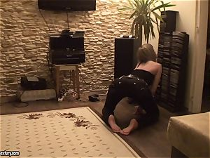Blue Angel blonde honey in spectacular panties lie on the floor