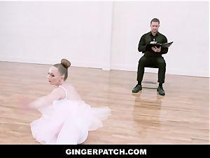 GingerPatch - sandy-haired Ballerina riding Judges hefty manstick