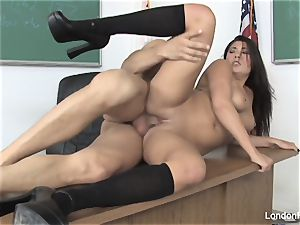 college girl London gets penetrated on the teacher's desk