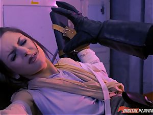Stella Cox poon beaten by a space agent