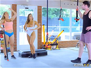 Nicole Aniston and Abigail Mac getting sweat-soaked