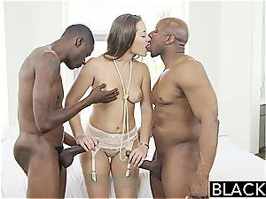 BLACKED Dani Daniels vs two humungous big black cock!