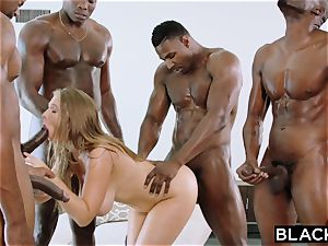 BLACKED Lena Paul very first multiracial gang-fuck